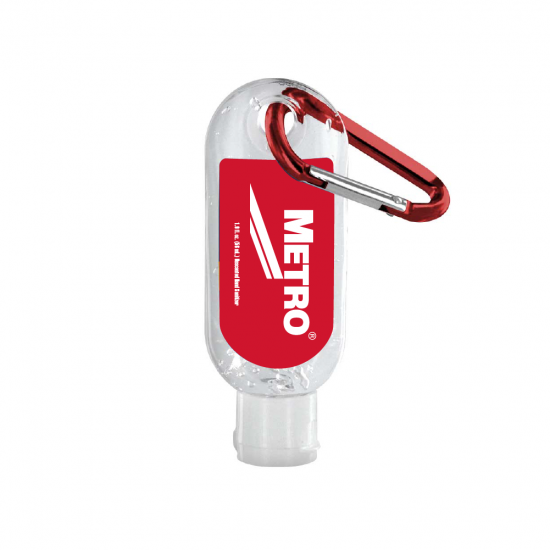 1.9 oz. Clear Sanitizer in Clear Bottle with Carabiner